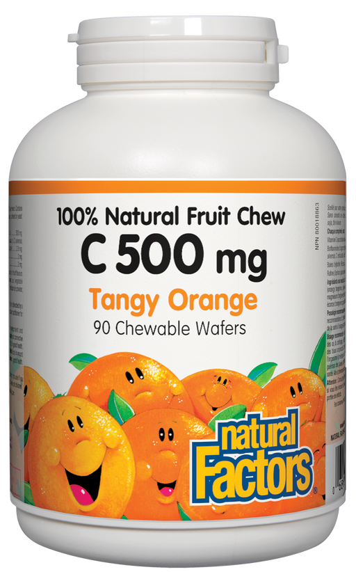Natural Factors C 500mg Natural Fruit Chews - Tangy Orange Flavour 90 Wafers