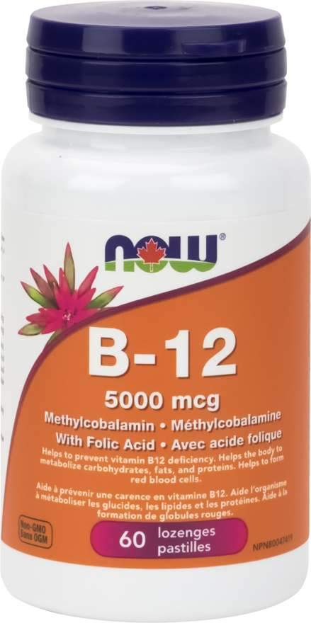 NOW B-12 5000 mcg Methylcobalamin 60 Lozenges