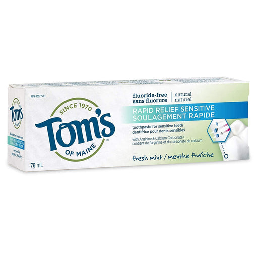 Tom's of Maine Fluoride-Free Rapid Relief Sensitive Toothpaste Fresh Mint 76 ml