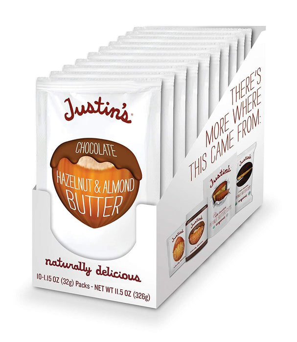 Justin's Chocolate Hazelnut Almond Butter 10 x 32 g Squeeze Packs