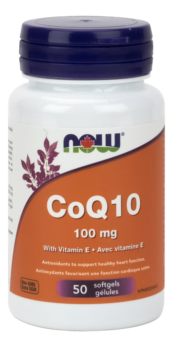 NOW CoQ10 100mg with Vitamin E 50 Softgels