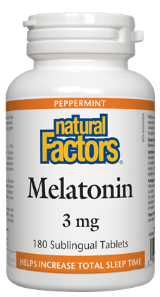 Natural Factors Melatonin 3 mg, Peppermint 180 Sublingual Tablets