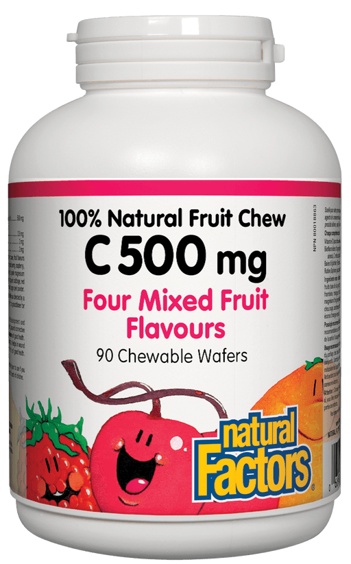 Natural Factors C 500 Natural Fruit Chews - Mixed Fruits Flavour 90 Wafers