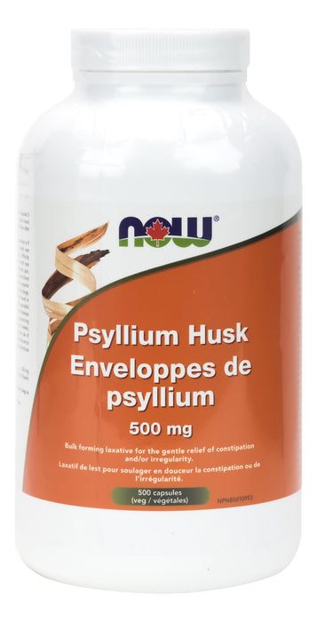 NOW Psyllium Husks 500 mg 500 Capsules