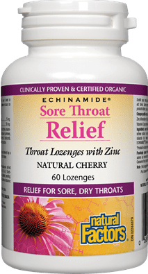 Natural Factors Sore Throat Relief Lozenges with Zinc Natural Cherry, 60 Lozenge