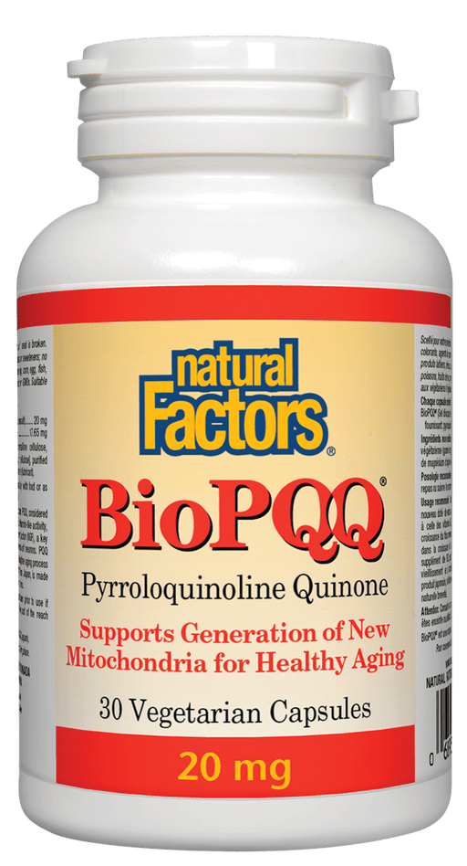 Natural Factors BioPQQ Pyrroloquinoline Quinone 20 mg 30 Capsules