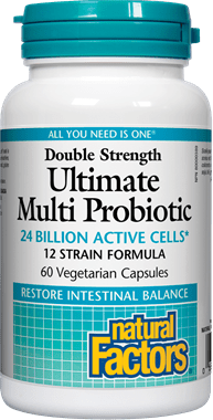 Natural Factors Double Strength Ultimate Multi Probiotic 24 Billion Live Probiotic Cultures 60 Capsules