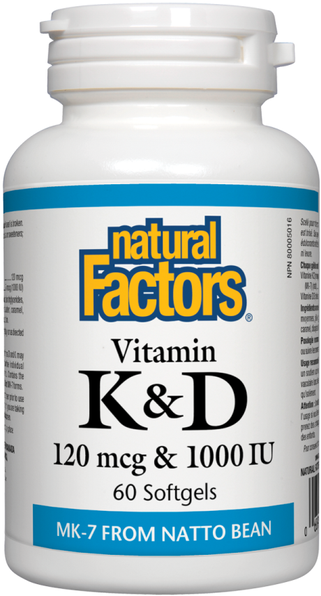 Natural Factors Vitamin K & D, 120 mcg & 1000 IU, 60 Softgels