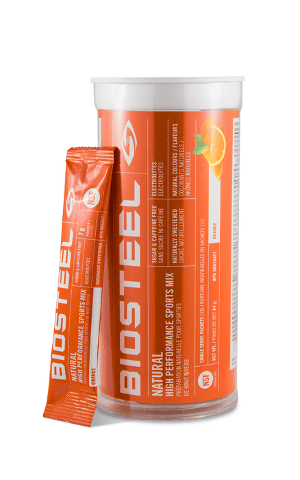 BioSteel Natural High Performance Sports Mix Tube Orange 12 Single Serve Packets