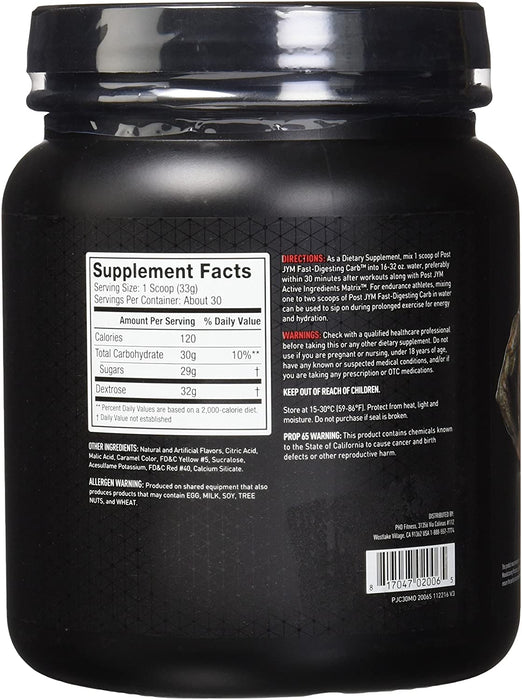 JYM® POST JYM Fast-Digesting Carb 993 g 30 Servings - Mandarin Orange (Short Dated)