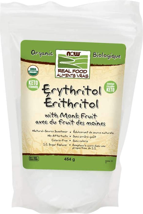 NOW Organic Erythritol with Monk Fruit 454 g