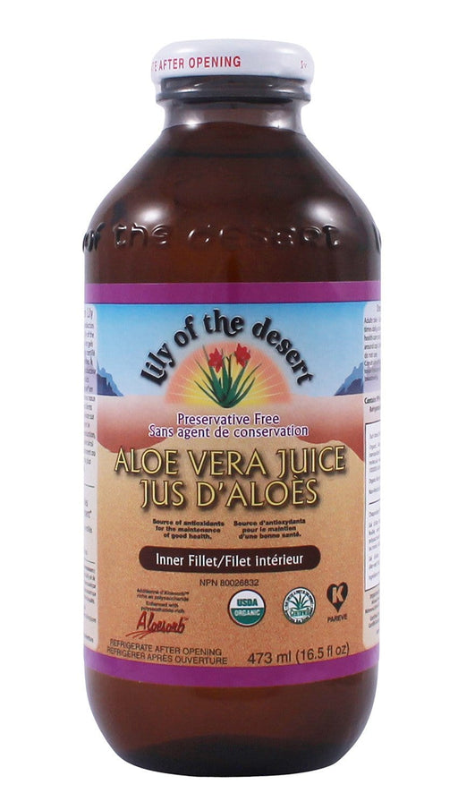 Lily of the Desert Aloe Vera Juice Inner Filet Preservative Free 16oz/473ml