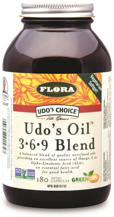 Flora Udo's Choice Udo's Oil Omega 3+6+9 Blend 180 Capsules