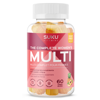 Suku Vitamins The Complete Women's Multi Plus CoQ10 & Fibre 60 Gummies - Peach & Pineapple Flavour