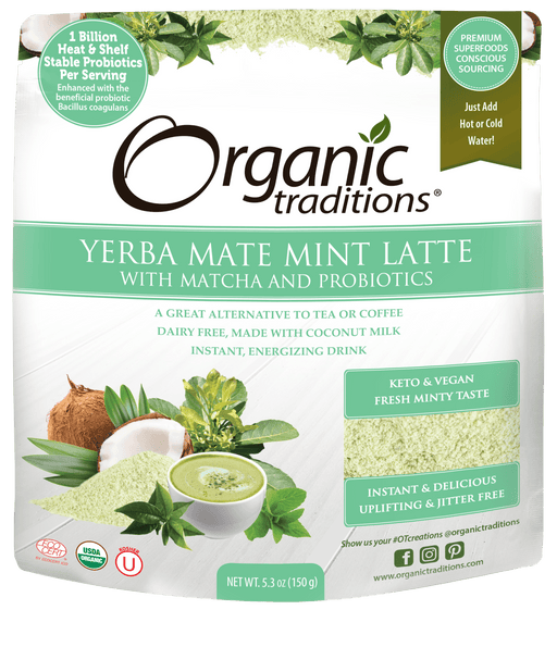 Organic Traditions Yerba Mate Mint Latte with Matcha and Probiotics 150 g