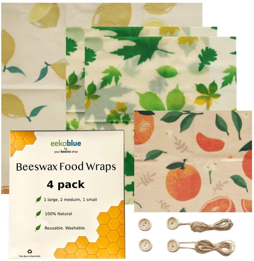 Eekoblue by Your Basics Shop Beeswax Food Wraps 4 Pack