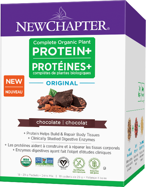 New Chapter Complete Organic Plant PROTEIN+ Original Chocolate 10 x 29 g Packets