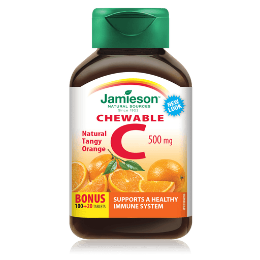 Jamieson Chewable C 500 mg Tangy Orange 120 Tablets