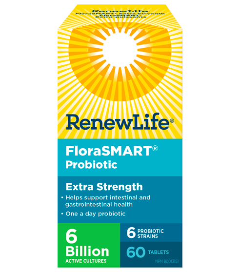 Renew Life FloraSMART Extra Strength 6 Billion Active Cultures 60 Tablets