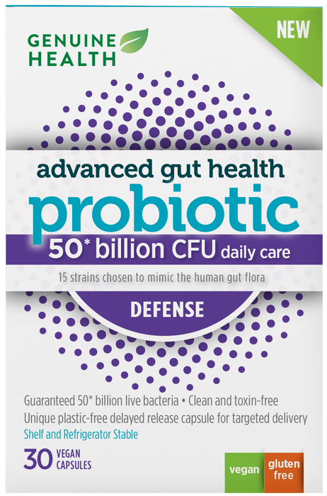 Genuine Health Advanced Gut Health Probiotic Defense 30 V-Caps