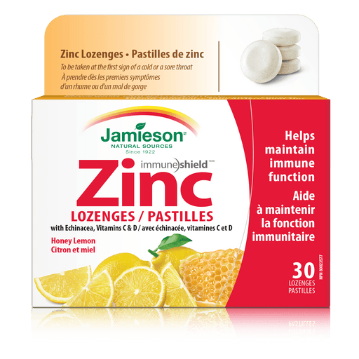Jamieson Zinc with Echinacea, Vitamin C&D Honey Lemon 30 Lozenges