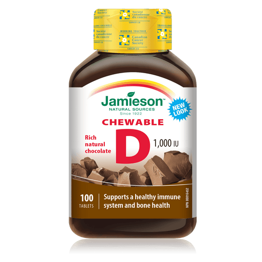 Jamieson Chewable Vitamin D3 1000 IU Rich Natural Chocolate 100 Tablets
