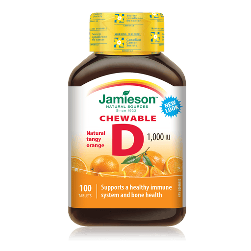Jamieson Chewable Vitamin D 1000 IU Natural Tangy Orange 100 Tablets