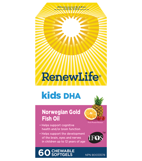 Renew Life Norwegian Gold Kids DHA 60 Chewable Softgels