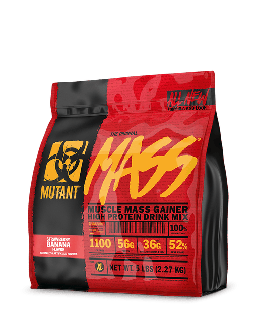MUTANT MASS Weight Gainer Protein Powder with a Whey Isolate, Concentrate, and Casein Protein Blend, For High-Calorie Workout Shakes, Smoothies and Drinks, (2.27 Kg), Strawberry Banana