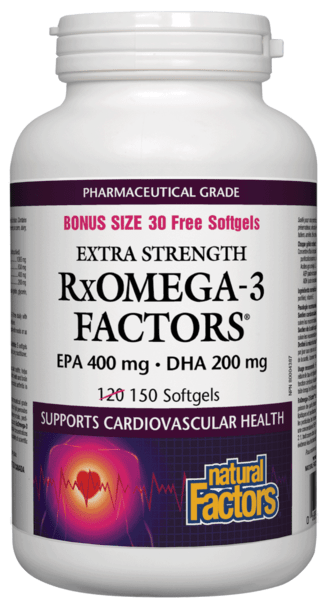 Natural Factors RxOmega-3 Factors Extra Strength BONUS SIZE 150 Softgels