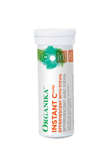 Organika Instant C Effervescent With Stevia 10 Tablets x 8 Tubes