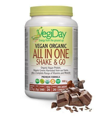 VegiDay Vegan Organic All In One Shake & Go Decadent Chocolate 900 g