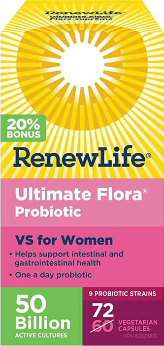 Renew Life Ultimate Flora Vaginal Support 50 Billion 72 Capsules Bonus Size