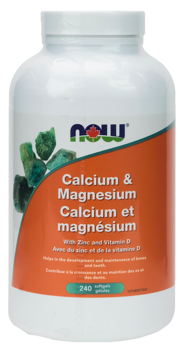 NOW Calcium and Magnesium with Vitamin D and Zinc 240 Softgels