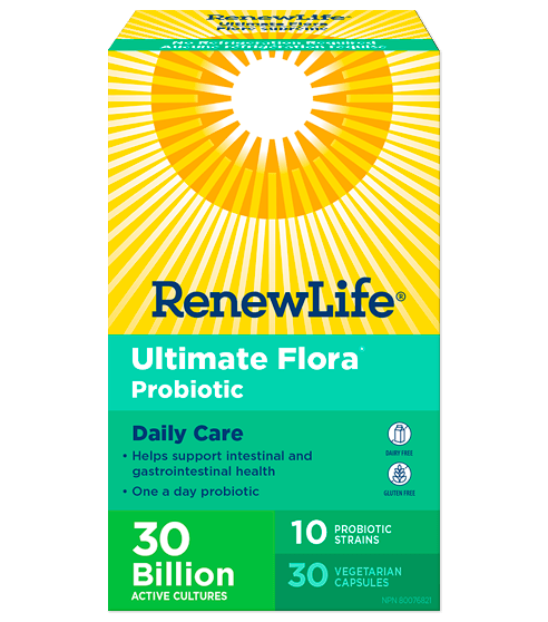 Renew Life Ultimate Flora Probiotic Daily Care 30 Billion 30 Veg-Cap, No Refrigeration