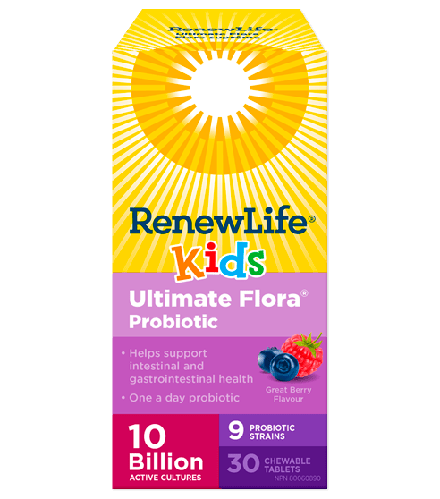 Renew Life Ultimate Flora Kids Probiotic 10 Billion Active Cultures 30 Chewable Tablets