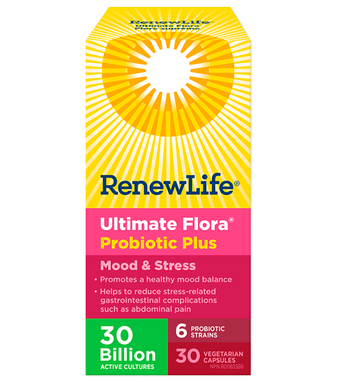 Renew Life Ultimate Flora Probiotic Plus Mood & Stress 30 Billion Active Cultures 30 Veg-Cap
