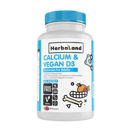 HerbaLand Calcium & Vegan D3 Gummies for Adults Strawberry & Orange Flavours 60 Gummies