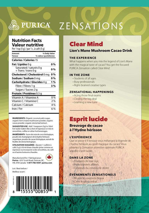 Purica Zensations Clear Mind Lion's Mane Mushroom Cacao Drink 150 g (Short Dated)