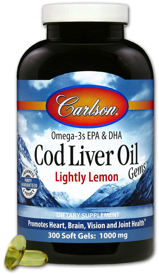 Carlson Laboratories Cod Liver Oil Lemon 300 Soft gels