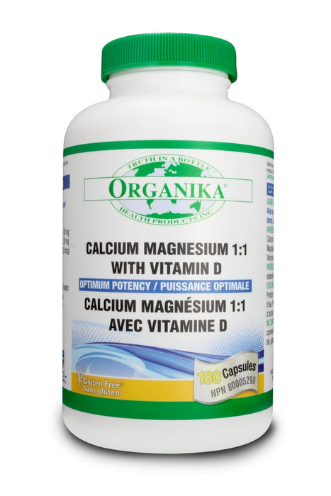 Organika CAL MAG 1:1 with VIT D - Optimum Potency 180 Capsules