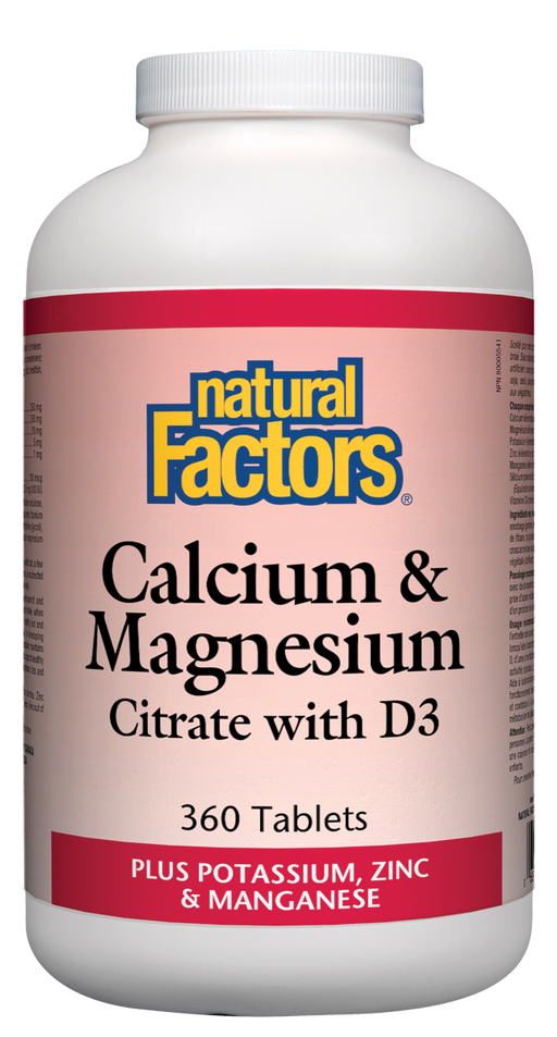Natural Factors Calcium & Magnesium Citrate with D3 Plus Potassium, Zinc & Manganese 360 Tablets