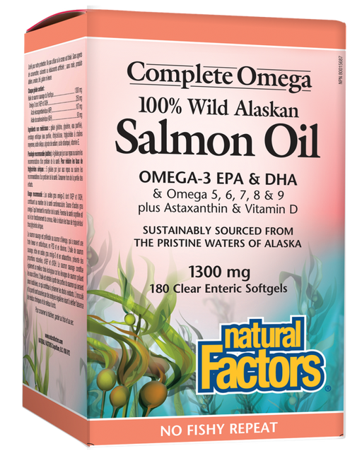 Natural Factors 100% Wild Alaskan Salmon Oil 180 Softgels