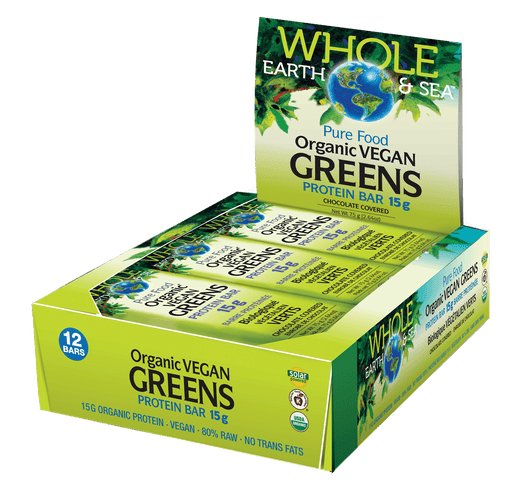 Whole Earth & Sea Pure Food Organic Vegan Greens Protein Bar