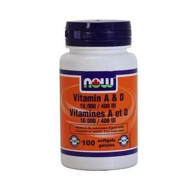 NOW Vitamin A & D 10,000IU/400IU 100 Softgels