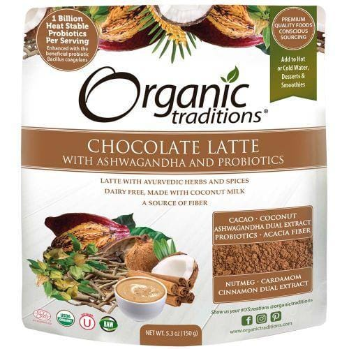 Organic Traditions Chocolate Latte with Ashwagandha and Probiotics 150 g