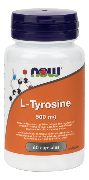 NOW L-Tyrosine 500mg 60 Capsules