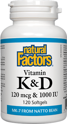 Natural Factors Vitamin K & D 120 mcg & 1000 IU, 120 Softgels