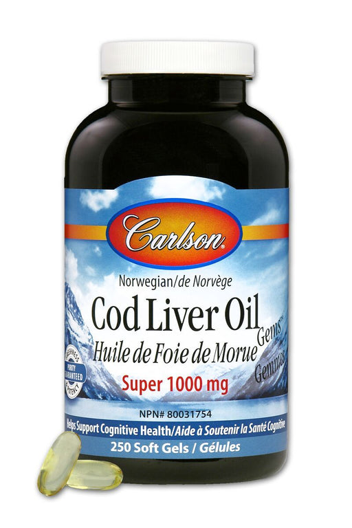 Carlson Laboratories Super Cod Liver 1000 mg 250 Soft gels