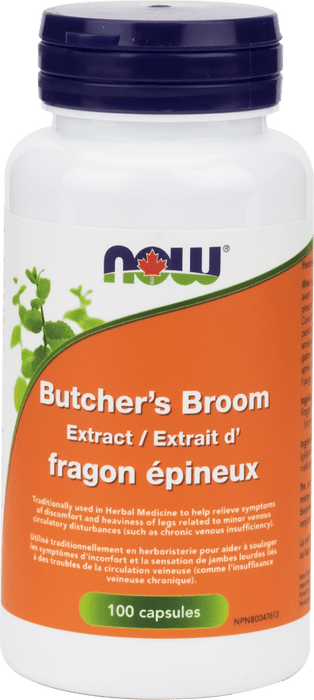 NOW Butcher's Broom 100mg 10% 5:1 Ext  100 Capsules